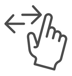 Left and right swipe line icon drag side gesture vector