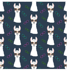 Llama in round glasses seamless pattern vector