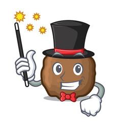 Magician meatball mascot cartoon style vector