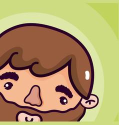 Man cute face cartoon vector