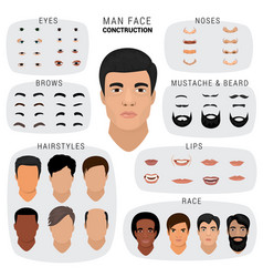 Man face constructor male character avatar vector