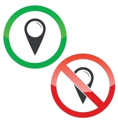 Map marker permission signs set vector image
