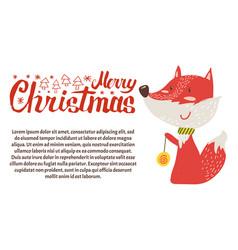 merry christmas postcard fox playing ball new year vector image