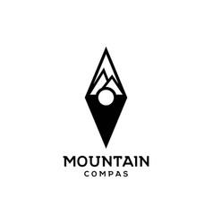 mountain compass logo design t vector image