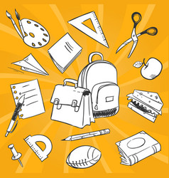 Necessary students things - hand drawn stationery vector