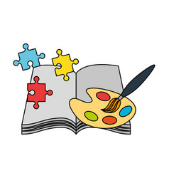 Open book palette color and puzzles kid toys vector