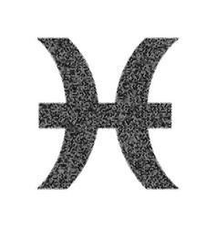 Pisces sign black icon from vector