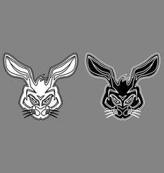rabbit hare head mascot black white outline vector image