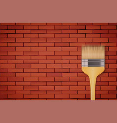 red brick wall and brush vector image