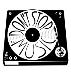 Retro turntable silhouette isolated with vinyl rec vector image