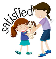 Satisfied young girl holding puppy vector