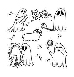 set cute ghosts black and white vector image