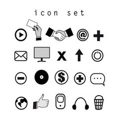 Set of black and white icons on the computer vector