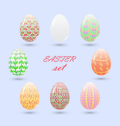 Set of painted easter eggs delicate pink and vector