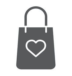 shopping bag with heart glyph icon package and vector image