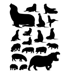 silhouette hippopotamus and sea lion vector image