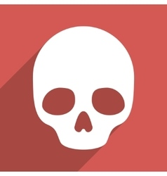 Skull Flat Longshadow Square Icon vector