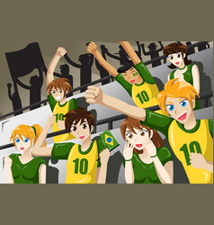 soccer fans in a stadium vector image