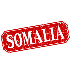 somalia red square grunge retro style sign vector image
