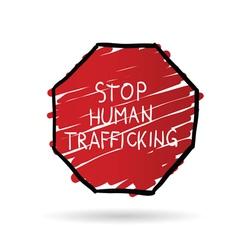 Stop trafficking cartoon vector