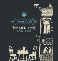 street cafe menu with table for two in an old town vector image