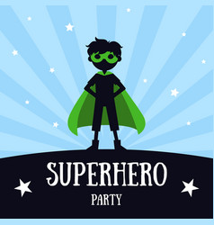 Superhero party banner cute boy in green vector