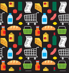 supermarket products seamless pattern vector image