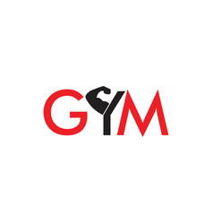 text gym strong arm symbol vector image