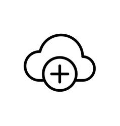 thin line add to cloud icon vector image