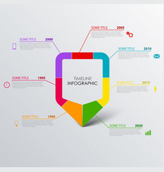 time line info graphic with design colored vector image