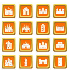 Towers and castles icons set orange vector