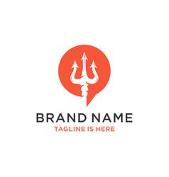 Trident bubble talk icon logo design vector