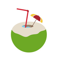 Tropical cocktail with umbrella icon image vector