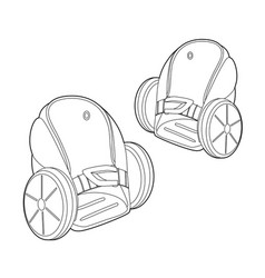 two wheeled electric roller scates icon outline vector image