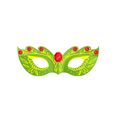 venetian green color mask with gold red gem vector image