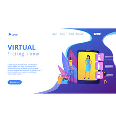 Virtual fitting room concept landing page vector