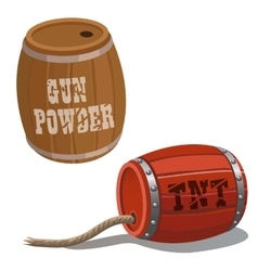 Wooden barrels with dynamite and wick vector