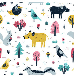 Woodland animals seamless pattern in scandinavian vector