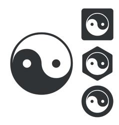 Ying yang icon set monochrome vector image