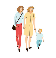 young family two moms and son together walking vector image