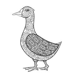 Zentangle magic goose black print for vector