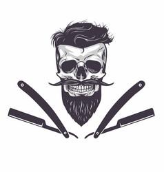 bearded skull vector image vector image