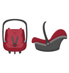 black and red kid car seat front and side views vector image vector image