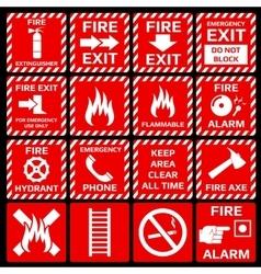 Fire alarm symbols set vector image