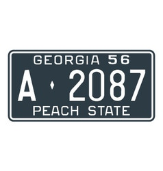 Georgia 1956 license plate vector