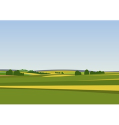 Green landscape with yellow fields vector image vector image