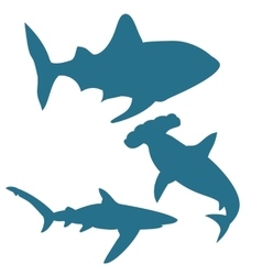 Shark silhouettes isolated on white vector image vector image