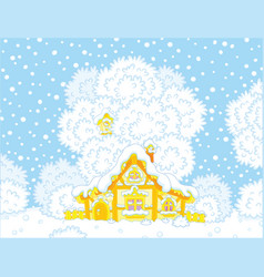 small log hut snow-covered on christmas vector image vector image