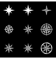 white wind rose icon set vector image
