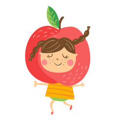 apple girl vector image vector image